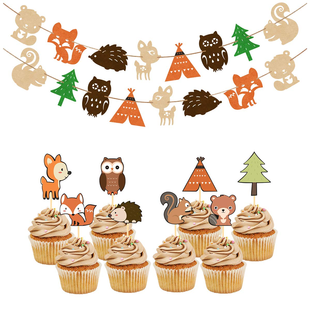 Woodland Party Supplies Set Forest Animal Friends Themed Banner Cupcake Toppers Baby Shower Birthday Party Decorations