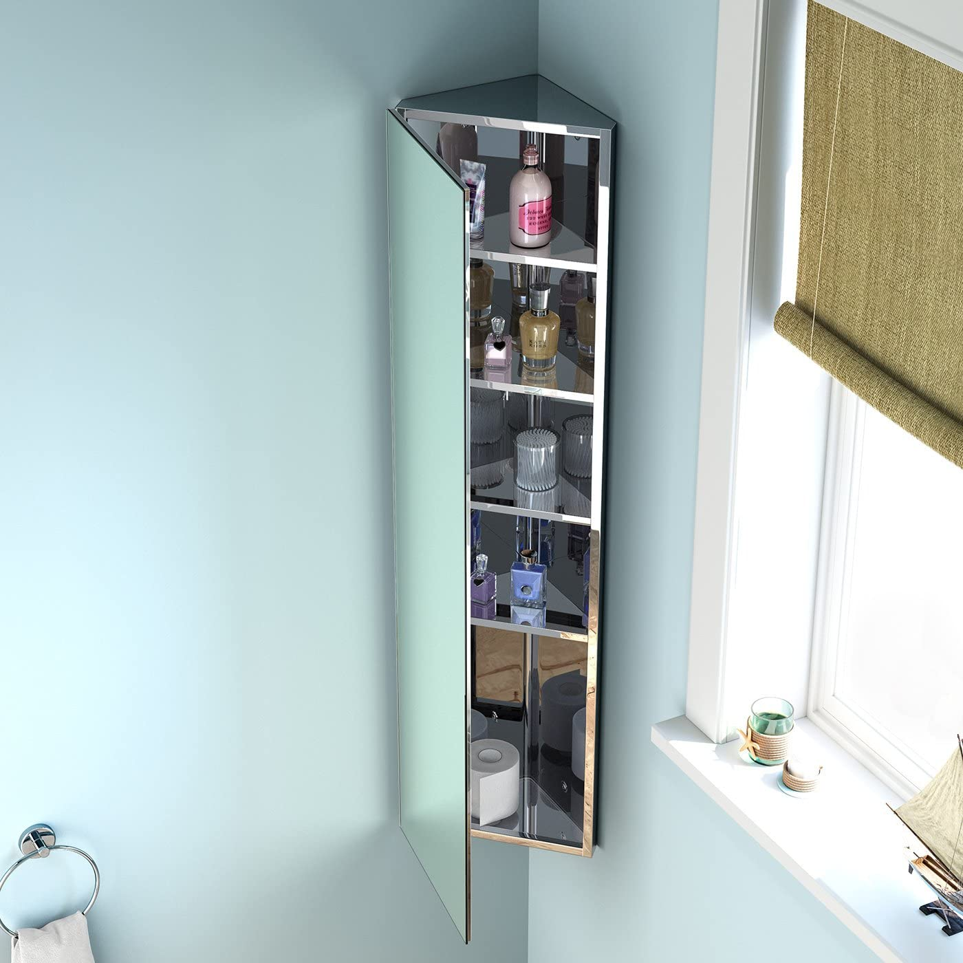 1200 X 300 Tall Stainless Steel Corner Bathroom Mirror Cabinet Modern Storage Unit Mc105 Ibathuk Amazon Co Uk Diy Tools