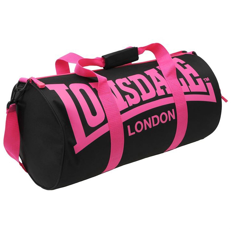 LONSDALE London Barrel Bag Holdall Gym Sports Black Pink  Amazon.co.uk   Luggage fece725aa6368