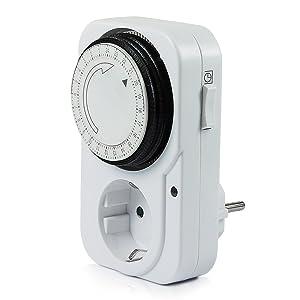Vivanco T24 - Temporizador mecánico 24 h con enchufe, color blanco