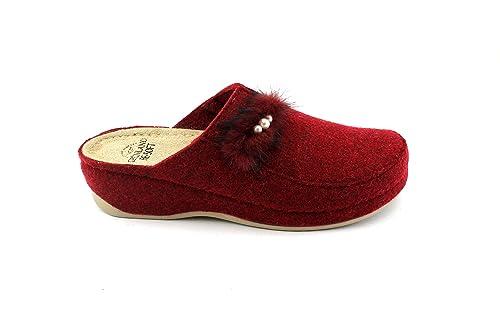 GRUNLAND PRUA CI1445 Red Bord Zapatillas Mujer Confort Tela Pompon Perlas 41: Amazon.es: Zapatos y complementos