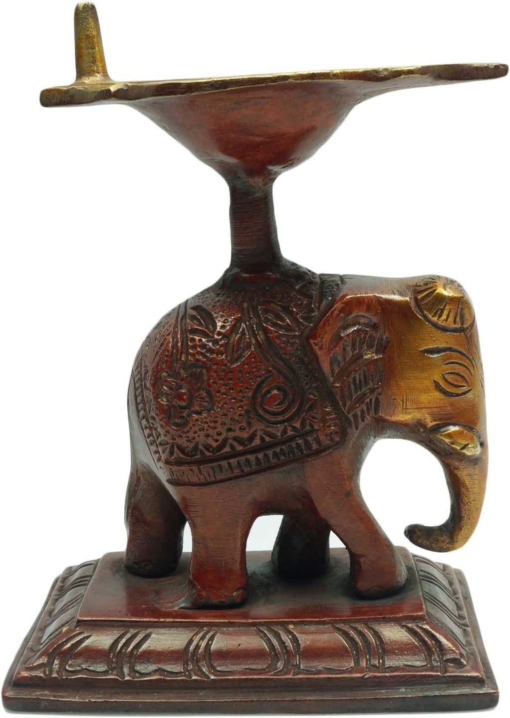 インドエスニックテーブル装飾用象のDiya Statueアンティークテーブルインテリア置物