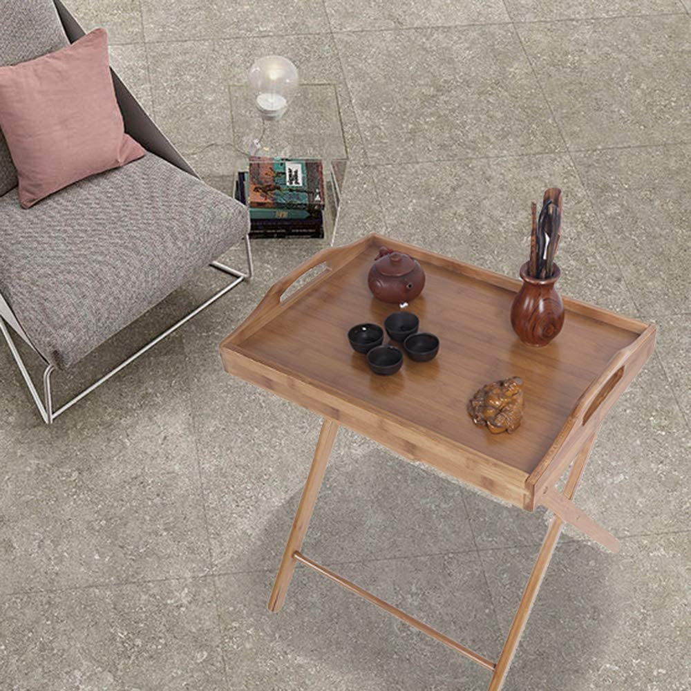 Living Room Marooma Folding Dining Table Wood Color Foldable Snack Table for Kitchen Bedroom Floor Standing Folding Dining Table Stable TV Tray Table