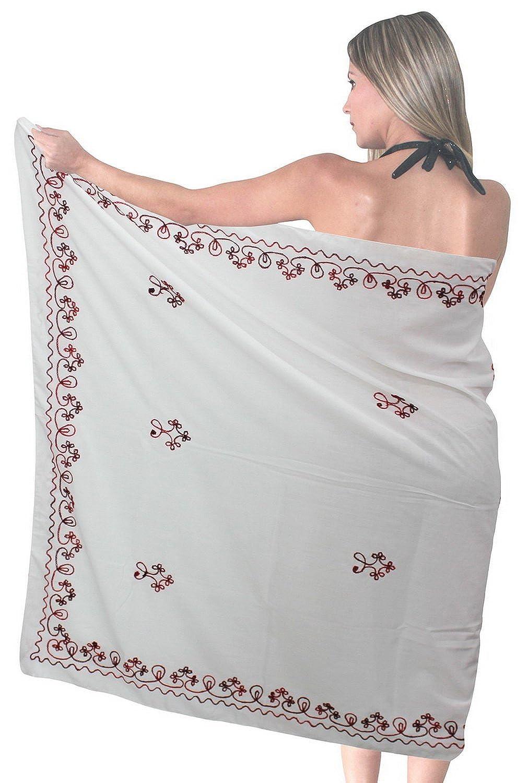 La Leela bestickte Rayon Maroon 5 in einer Bademode / Badeanzug vertuschen / Tunika / sundress / Bikini Schlitz Rock / Damen Pareo / plus Größe Badeanzug Sarong langes Kleid 182x108 cm wickeln