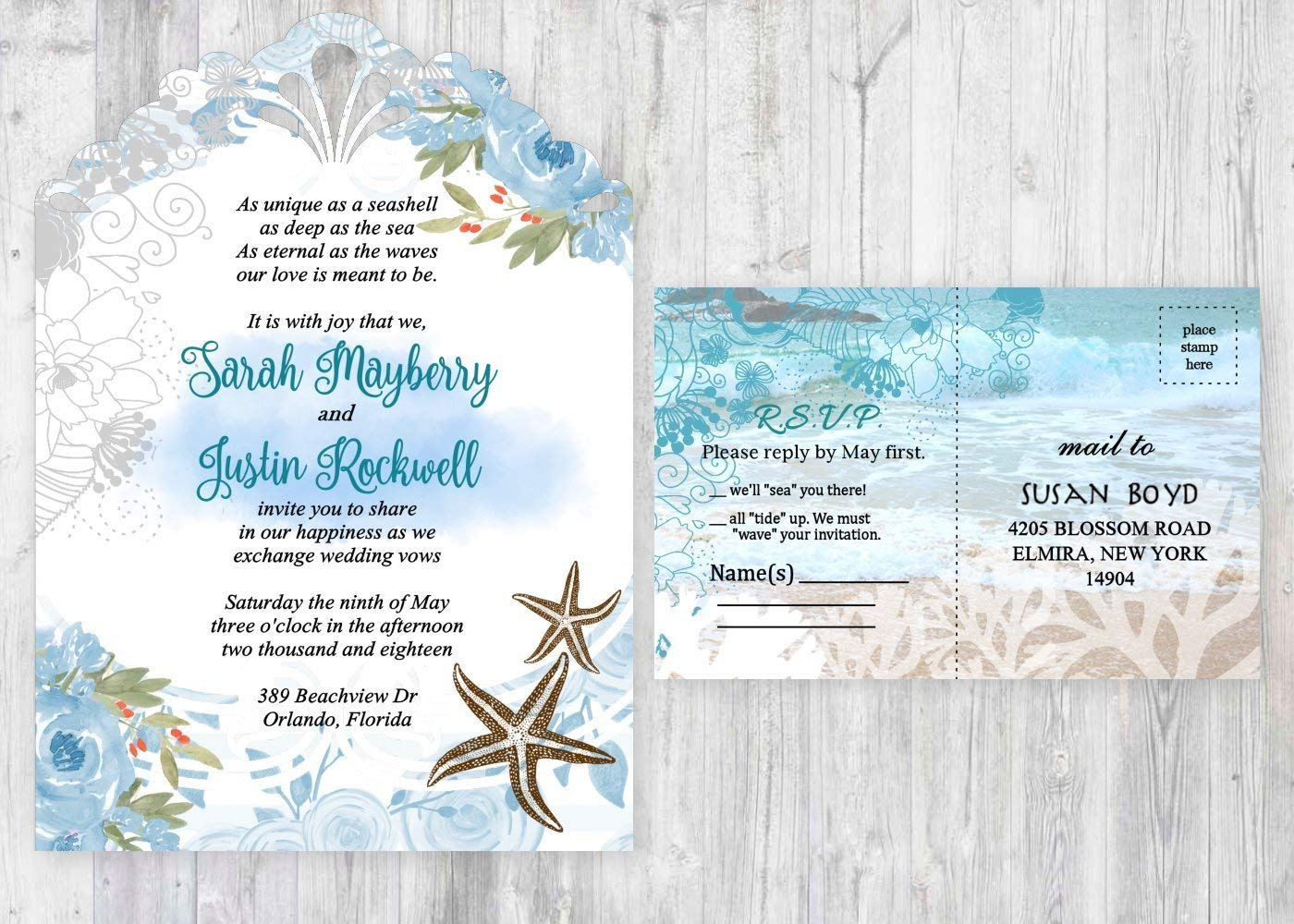 Amazon Com Beach Wedding Invitations Starfish Invitation Ocean