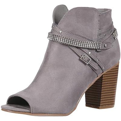 Rampage Women's Meera Peep Toe Rhinestone Glitz Buckle Strap Block Heel Ankle Bootie Boot | Ankle & Bootie