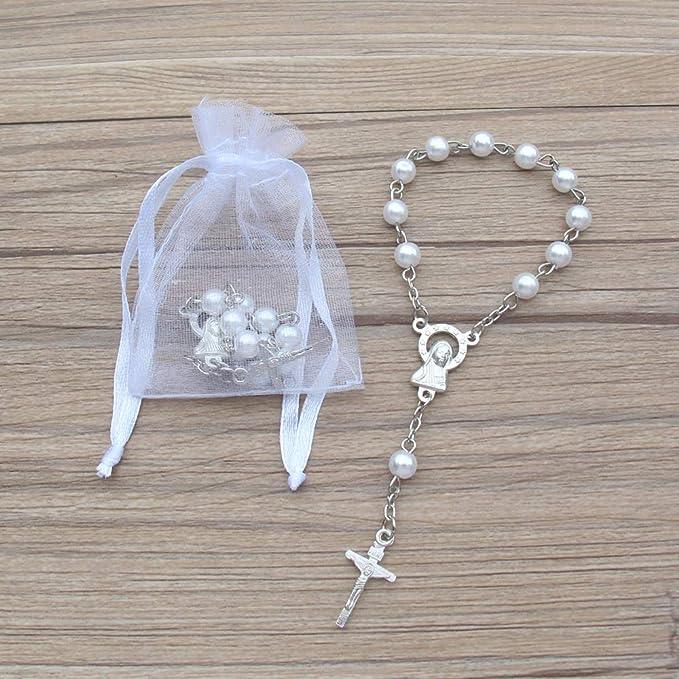 12pcs baptism favors bracelets decorated pouchesRecuerdos Para Bautizo de ni\u00f1achristening favors