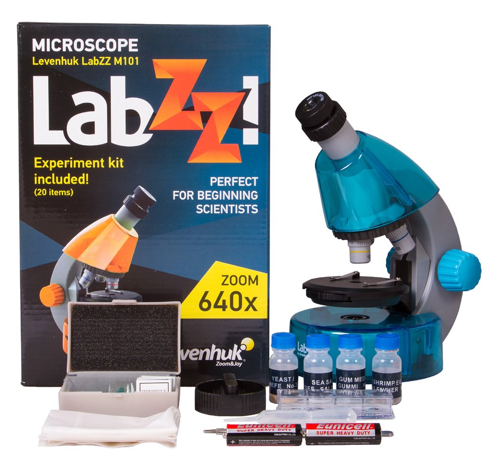 Levenhuk LabZZ M101 Azure Microscope for Kids with Experiment Kit - Choose Your Favorite Color