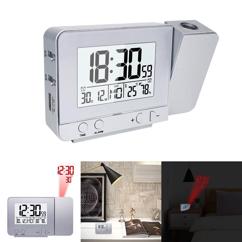 DEBEME Reloj Despertador con proyector, Pantalla LED Reloj ...