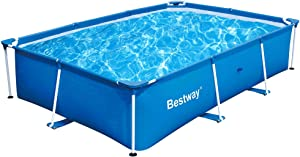 Bestway 9.8ft x 6.6 ft x 79 x 26in Deluxe Splash Steel Frame Kids Swimming Pool