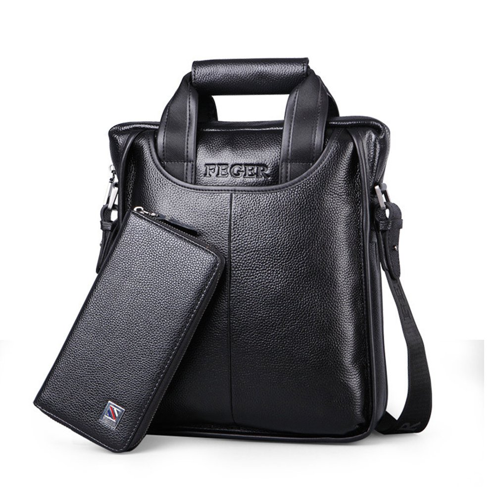 Mufly Mens Leather Shoulder Bags Fashion Travel Bag Messenger Bag Cross Body Bag for Office Business (Black L)
