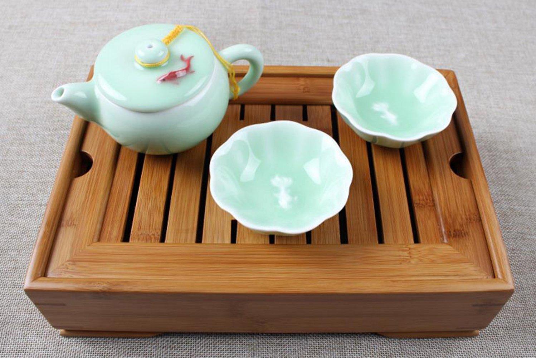 Hoobar Reservoir Type Bamboo Tea Tray - Chinese Kungfu Tea Table Serving Tray Box for Kungfu Tea Set by JKCOM (Image #3)