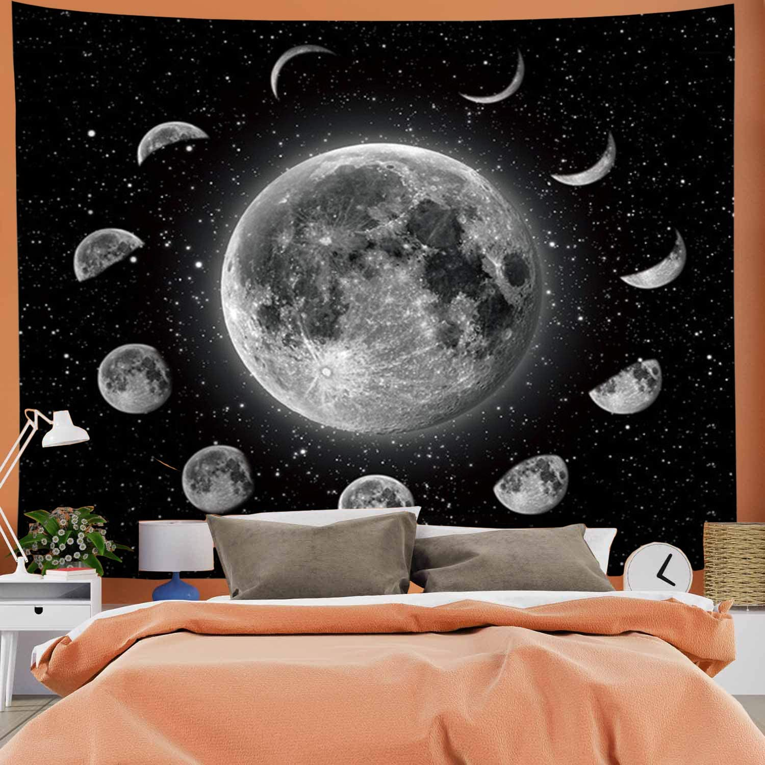 G.Will Moon Tapestry Planet Tapestry Moon Eclipse Tapestry Space Tapestry Psychedelic Tapestry Mysterious Starry Sky Tapestry Wall Hanging for Room