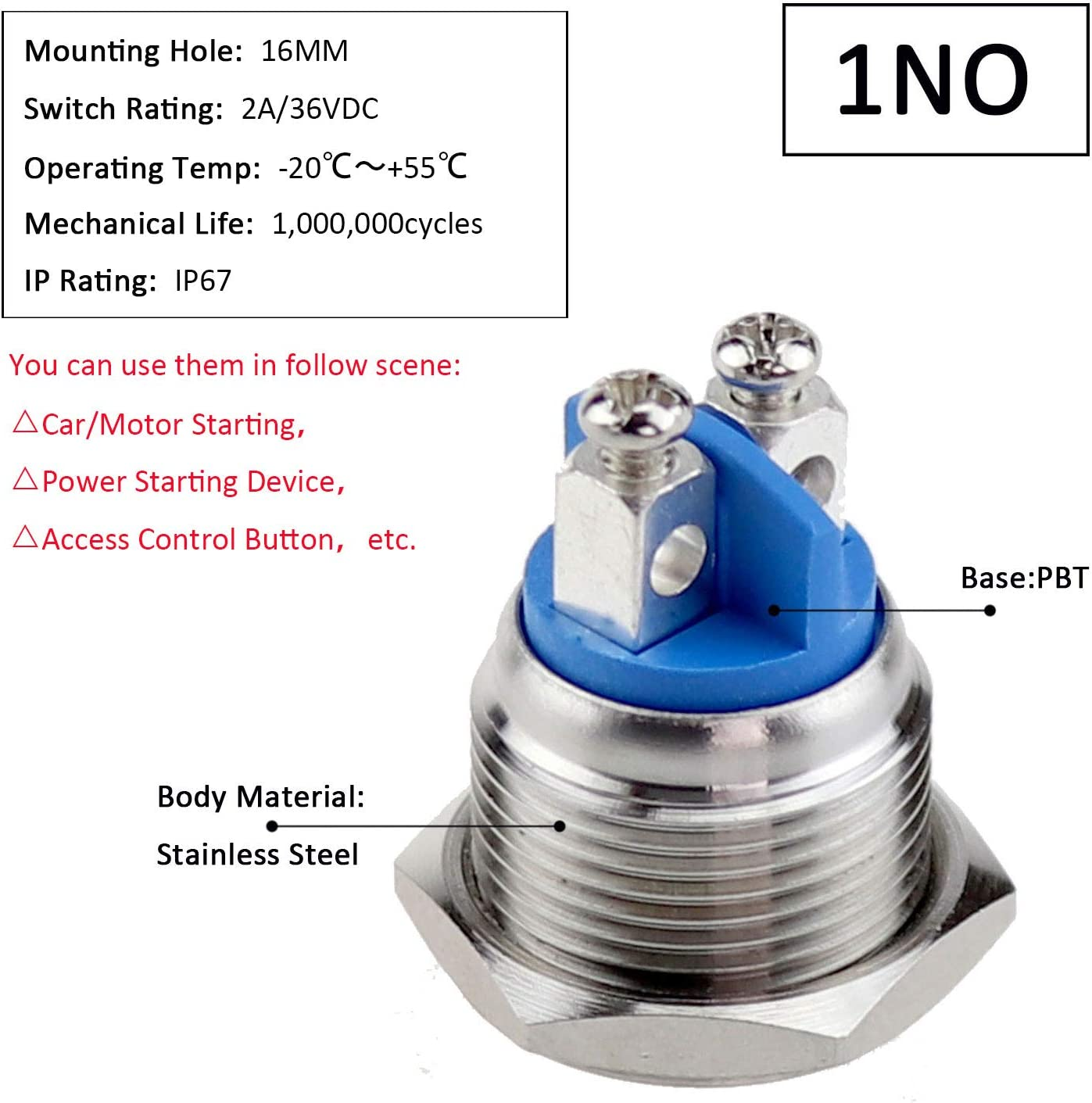 30A Button Switch Waterproof Metal Momentary Stainless Steel IP67 16mm Useful