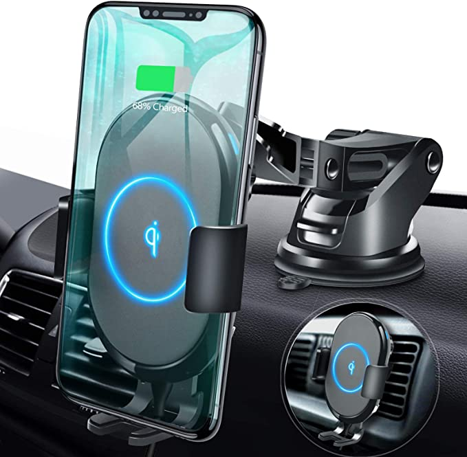 Compatible with iPhone X XS XS Max XR 8 Plus Cable /& Accessories Included Samsung Galaxy S9 S9+ S10 S10+ Note 9 Car Phone Mount Wireless Charger QI Enabled No Slip Side Pad /& Strong Bracket