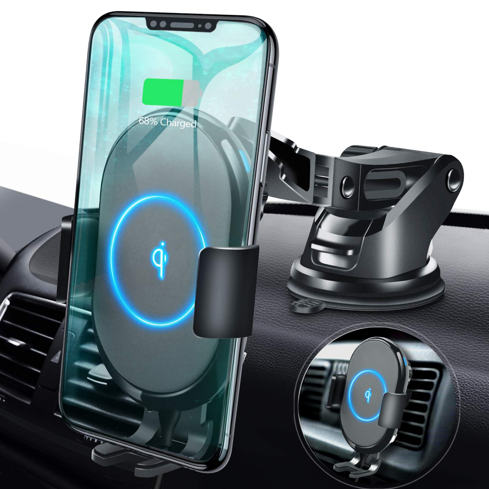 ABLEGRID Wireless Car Charger Mount, Automatic Clamping 10W/7.5W Qi Fast Charging 5W Car Mount Holder Dashboard Compatible with iPhone Xs/Xs Max/XR/X/8/8 Plus,Galaxy S10/S10+/S9/S9+/S8/S8+/Note 9/8