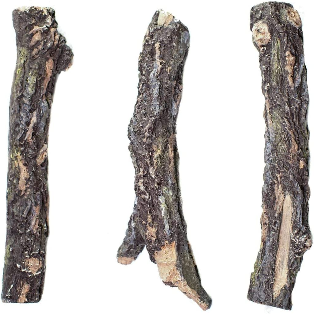 Bark Burncrete Twigs for Gas Fireplaces & Gas Fire Pits (3 Pieces) - Battlefield - 9 inch Length, 1.5 to 2 inch Diameter