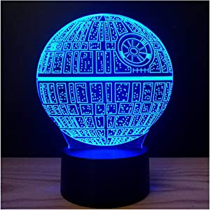 3D Illusion Platform Night Lights Touch Control 7 Color Change USB Power LED Desk Lamp for Home Decorations or Holiday Gifts (Death Star)