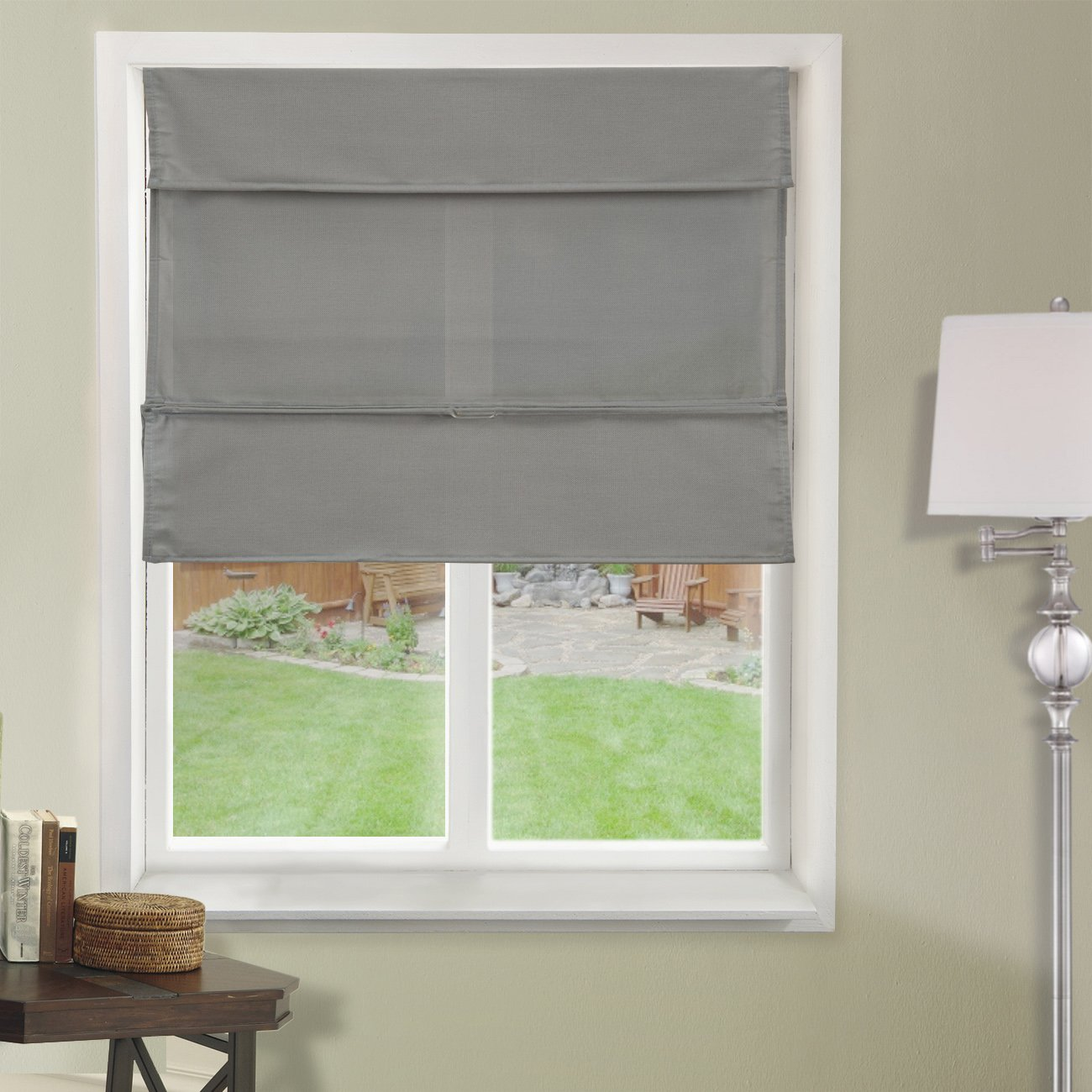 Chicology Cordless Magnetic Roman Shades / Window Blind Fabric Curtain Drape, Light Filtering, Privacy - Daily Grey, 27''W X 64''H by CHICOLOGY