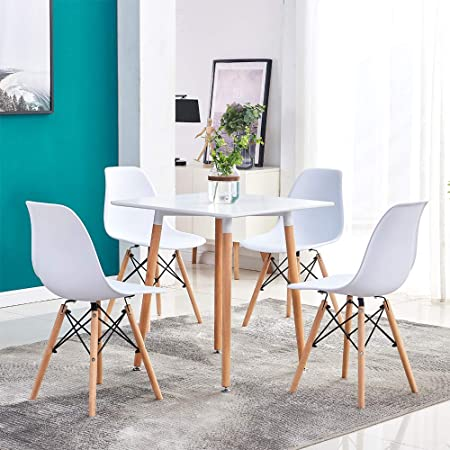 Huisen Furniture White Dining Table And 4 Chairs Set Small Space 5 Pieces Kitchen White Wooden Dining Table And 4 Retro Eiffel Plastic Chairs For Apartment Office Conversational Room Set Amazon Co Uk Kitchen