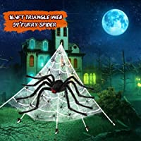 VATOS Halloween Outdoor Decorations,16.4Ft Triangle Spider Web+60g Stretchy Spider Webs Indoor & Outdoor Spooky Spider…