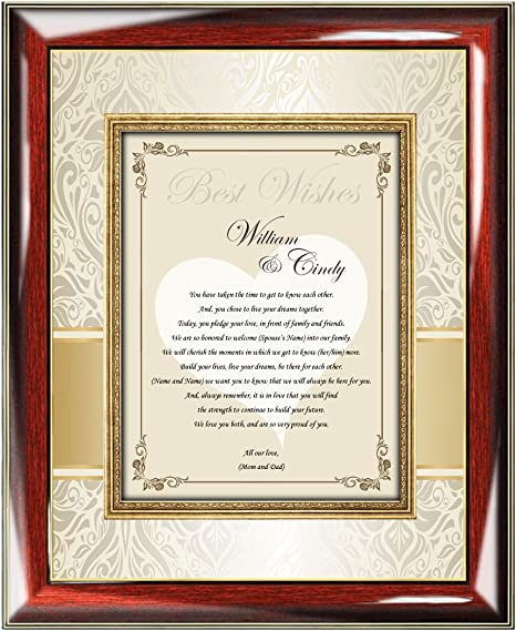 Personalized Wedding Gift Frame For Bride And Groom From Parents Mom And Dad Custom Best Wish