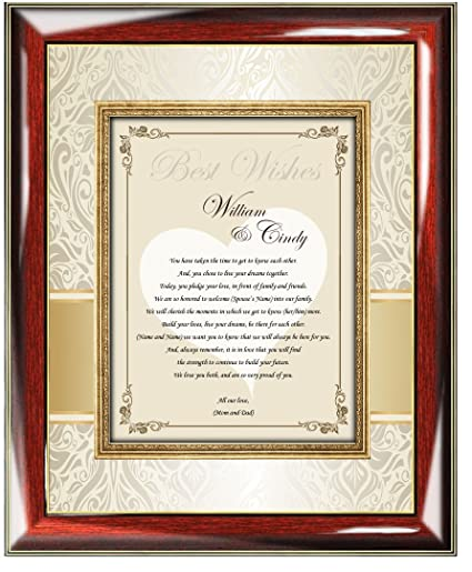 780b7258aea4 Amazon.com - Personalized Wedding Gift Frame For Bride and Groom from Parents  Mom and Dad Custom Best Wish Poetry Frame Romantic Unique Custom Wall Poem  ...