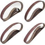 1/2 Inch x 18 Inch Sanding Belts, 6 Each of 40 80 120 240 Grits, Aluminum Oxide Belt Sandpaper for Woodworking, 24 Pack