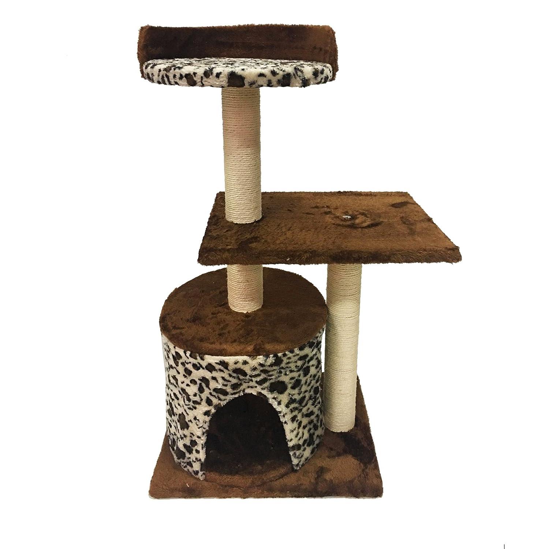 LuckyPet Rascador Arbor para gatos Juguete Beige Marron Afilador Centro de juego