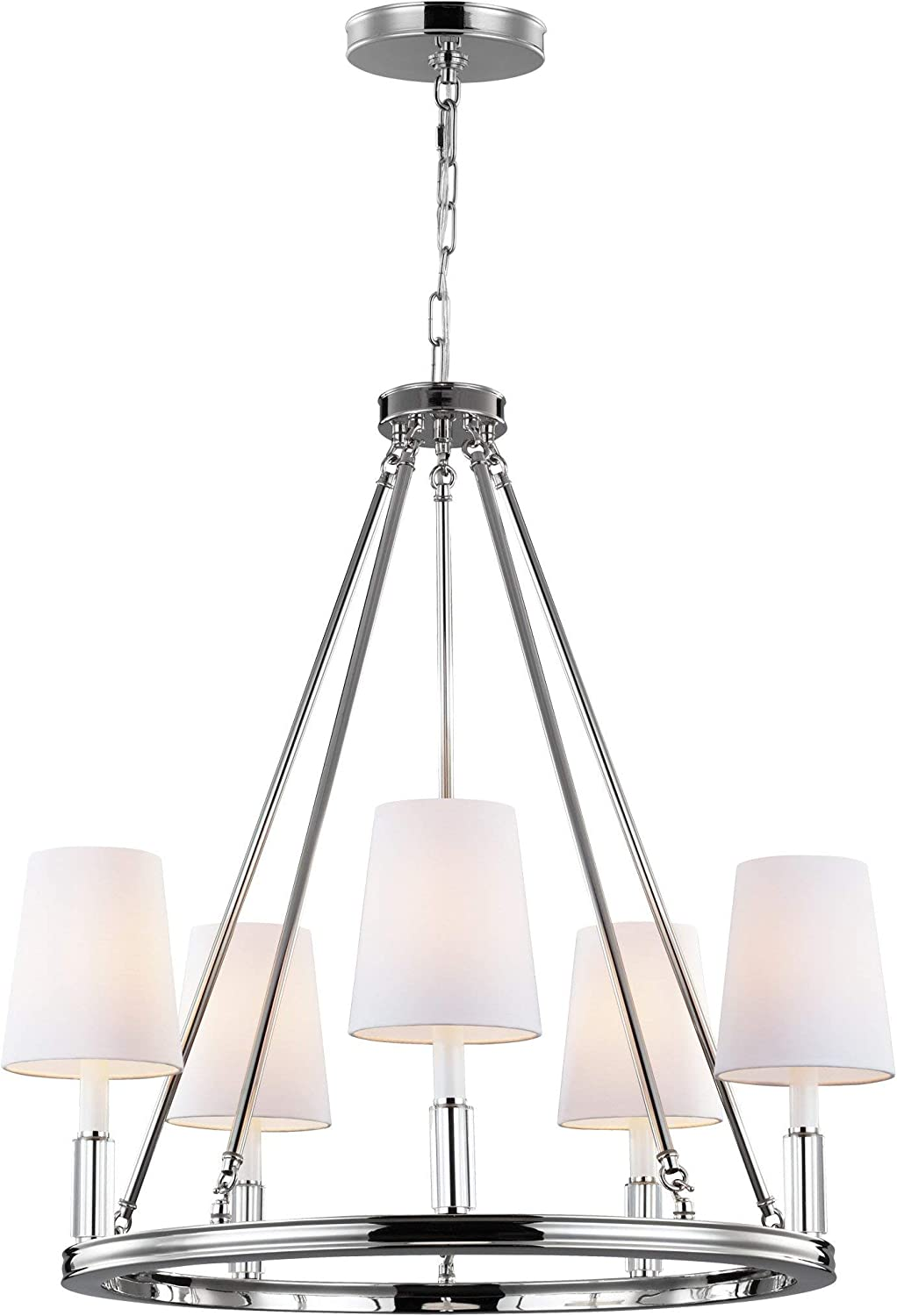 Amazon Com Feiss F2922 5pn Lismore Fabric Shade Candle Chandelier Lighting Chrome 5 Light 28 Dia X 30 H 300watts Home Improvement