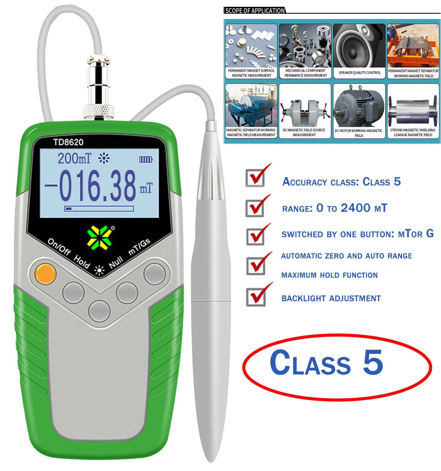 Handheld Digital Tesla Meter Permanent Magnet Gauss meter High Precision Gaussmeter Fluxmeter Surface Magnetic Field Tester with 5% Accuracy Probe 0 to 2400mT