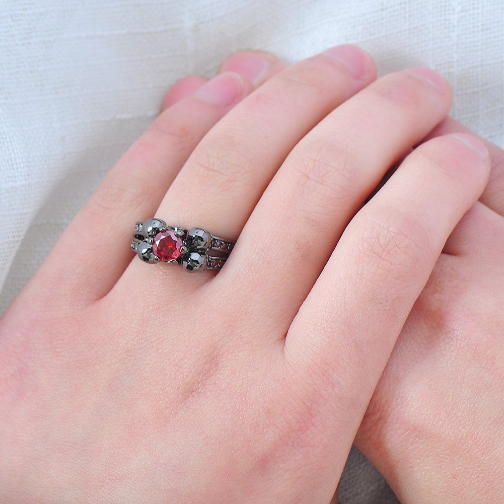 Bamos Jewelry Womens Red Lab Stone Skulls Ring Engagement Wedding ...