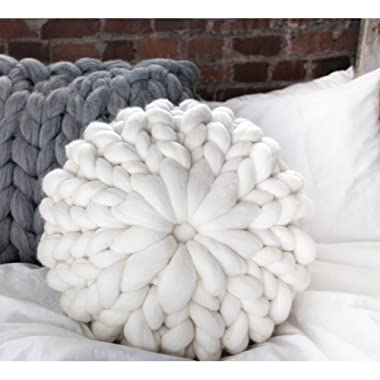 FOHOMA Hand Knit Pillow Super Chunky Giant Wool Yarn Arm Knit Cozy Round Pillow Couch Decorative Pillow 11.8x7.9in (White)