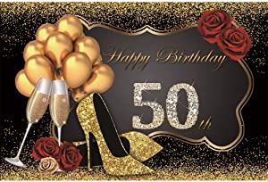 Laeacco Happy 50th Birthday 7x5ft Vinyl Photography Background Luxurious Shiny Diamonds Golden Glittering High Heels Balloons Red Roses Champagne Goblets Golden Glitter Decors Black Backdrops