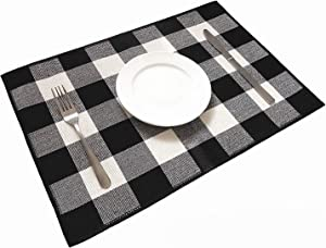 Ukeler Placemats Set of 6 - Buffalo Check Plaid Placemats 100% Cotton Crossweave Plaid Woven Placemats Washable Heat Insulation Kitchen Table Mats, Black and Cream