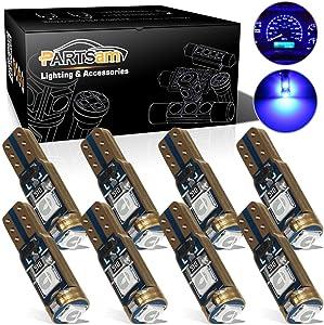 Partsam T5 73 74 Error Free Speedometer Indicator LED Light Kit Instrument Panel Gauge Cluster Dashboard LED Light Bulbs - Canbus/Blue 8Pcs
