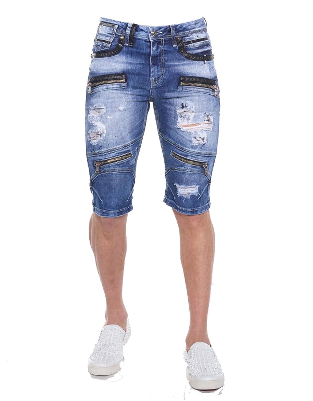 Herren Jeans Shorts Kurze Sommer Hose Denim Capris Destroyed Jeans Blau