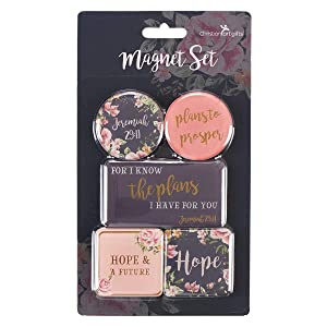Christian Art Gifts Pink Floral Refrigerator Magnets | I Know The Plans - Jeremiah 29:11 Bible Verse | Inspirational Fridge Magnet Mini Variety Set/5