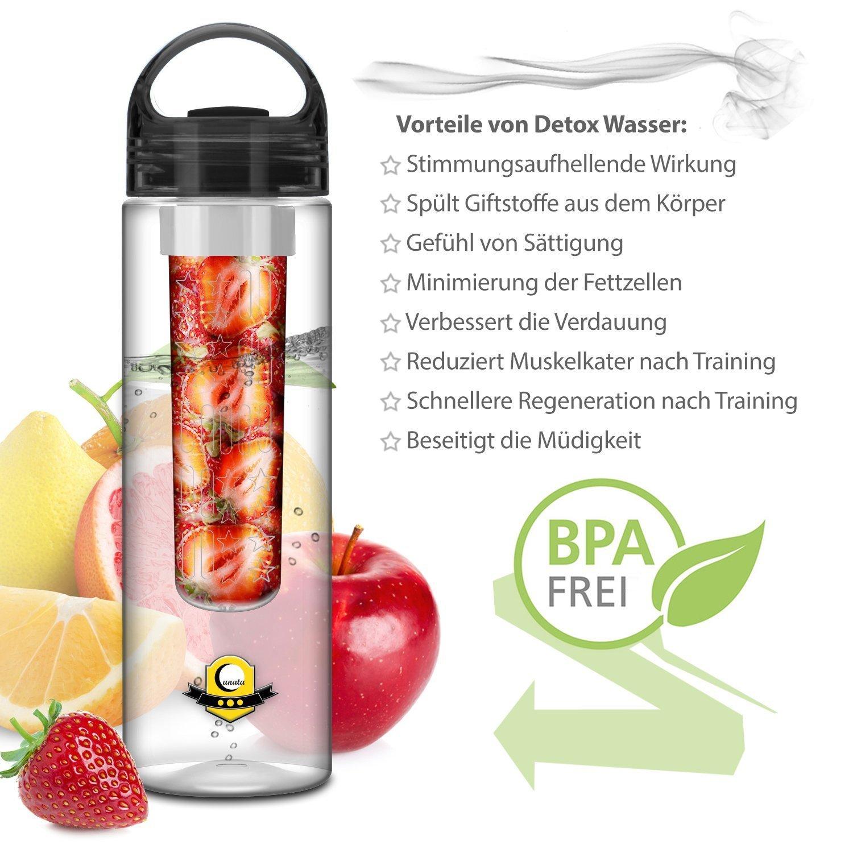 FunRun 700ml Plástico ecológico y sin BPA botella de agua, sport water bottle Deportiva, tritan botella reutilizables con Infusor de Esencia de ...