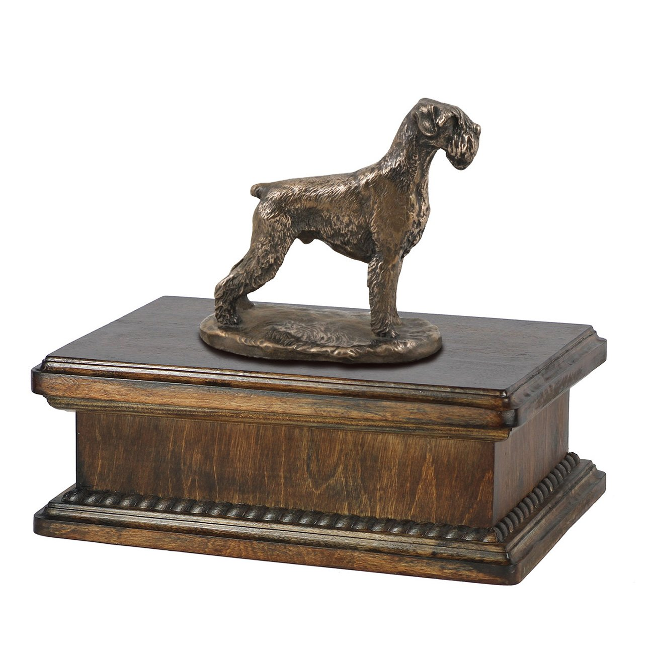 Schnauzer (uncropped), memorial, urn for dog's ashes, with dog statue, exclusive, ArtDog