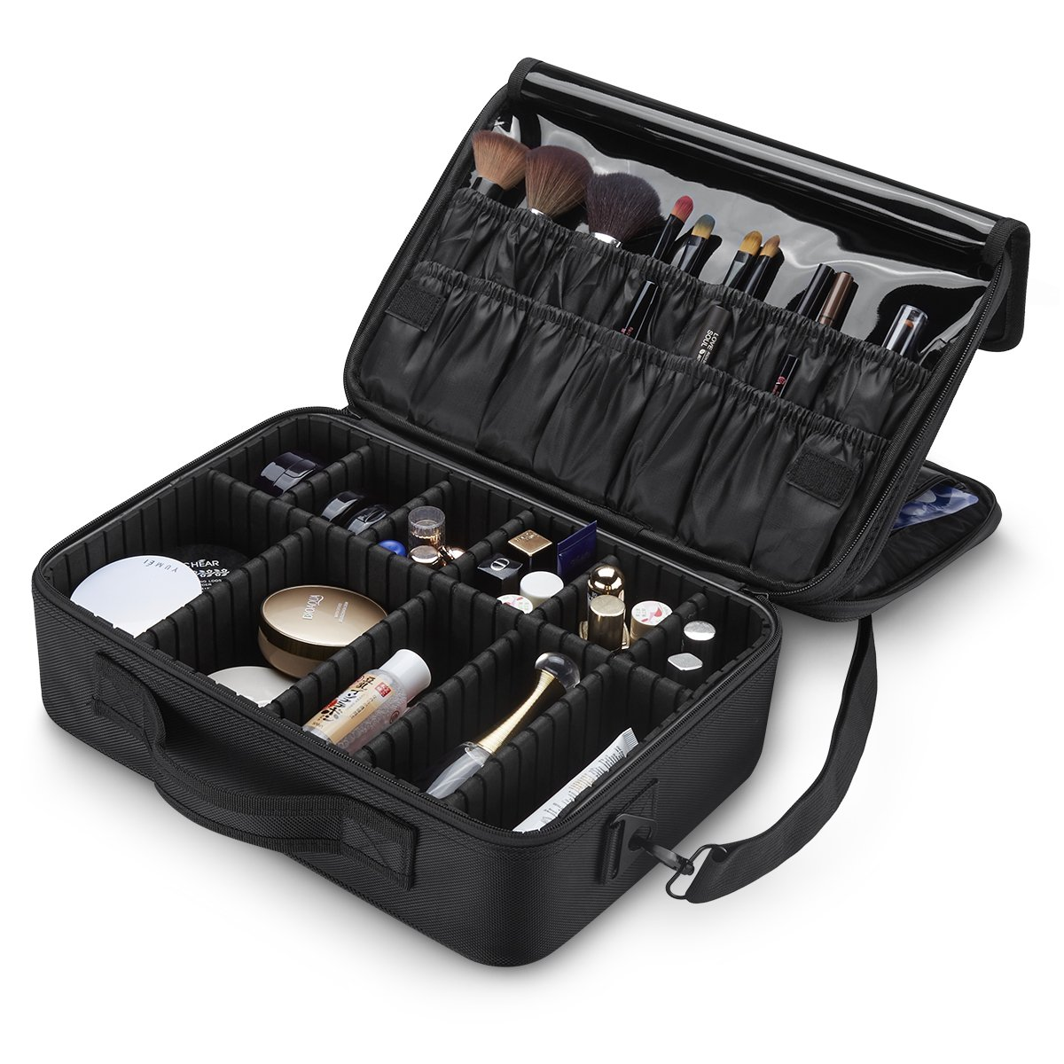 3 Layers Waterproof Makeup Travel Bag 15.1 Inch Makeup Train Case Makeup Bag Organizer with Adjustable Dividers for Cosmetics Makeup Brushes Jewelry Digital Accessories (Black-M) by LEPO (Image #1)