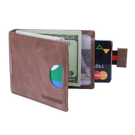 LANDRiND Bloqueo RFID Cuero Genuino de Grano Completo Carteras Front Pocket Slim Bifold Carteras con Clip