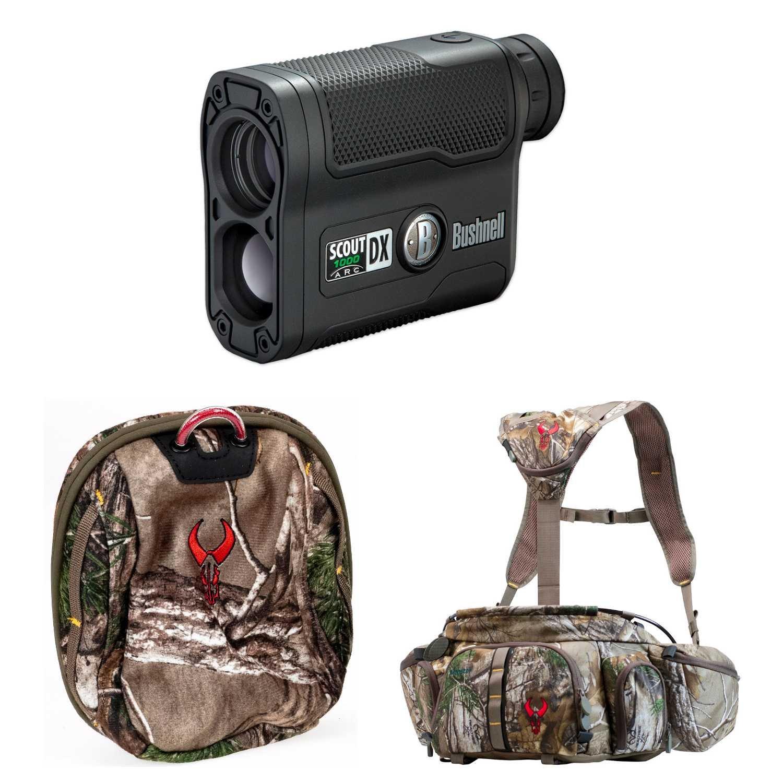 Badlands Monster Camo Hunting Fanny Pack w. Bushnell Laser Rangefinder 202355 & Rangefinder Case, Realtree