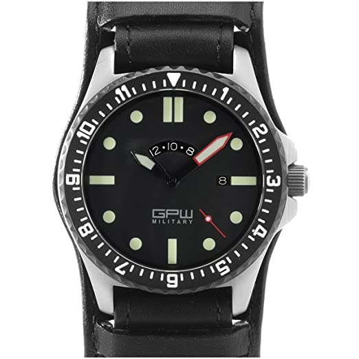 Ejército alemán Titanio Ver. GMT gpw. Negro alemán Bund leatherstrap. Cristal de zafiro. 200 m W/R.: Amazon.es: Relojes