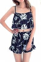 (チチ)TiTi Fashion  レディース ビキニ 黒 ブラック 花柄 花 水着 セクシー 体型カバー ブラジャー 短パン C298