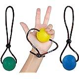 StringyBall Stress Balls sur une chaîne (jeu de 3) - Parfait pour le soulagement du stress, l'exercice manuel, le renforcement, la réhabilitation - Des boules douces, moyennes et fermes avec un guide d'exercice - Pas de chute / Rolling Away