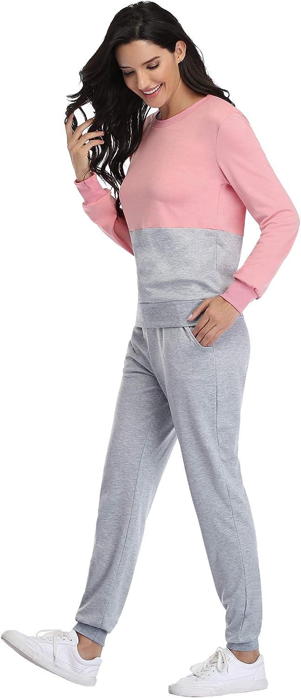 Irevial Womens Casual Loungewear Long Sleeve Sweatshirt Hoodies Pants Tracksuits Jogging Sportwear Outfits Set