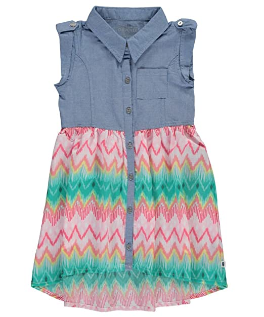 Cherokee Baby Girls Rita Dress Chambray Coral 12 Months