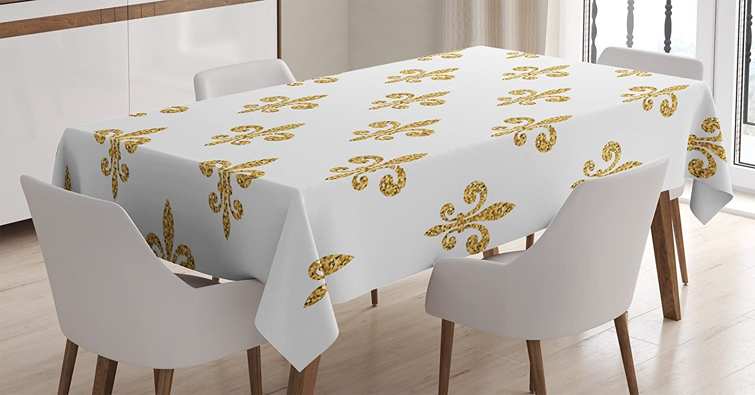 Ambesonne Fleur De Lis Tablecloth, Vintage European Lily Aristocratic  Dignified Majesty Print, Rectangular Table Cover for Dining Room Kitchen  Decor, ...