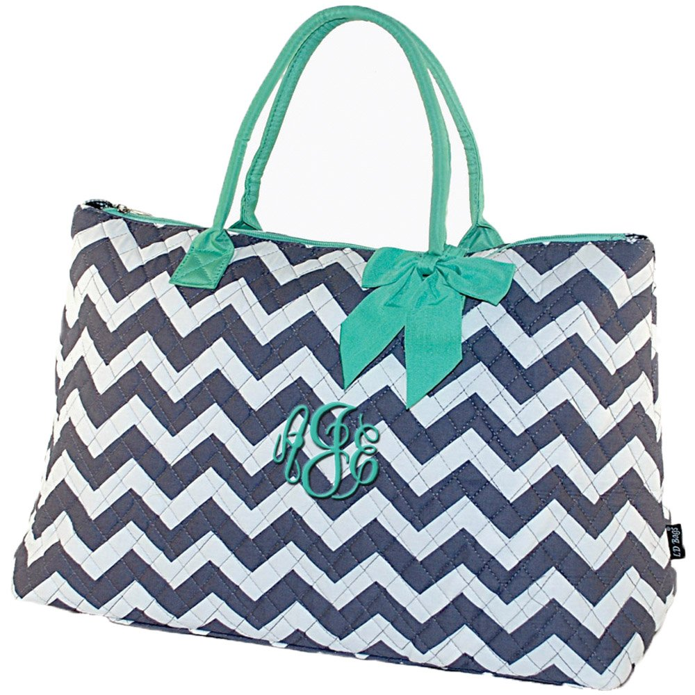 Personalized Grey Chevron Mint Trim Quilted Tote Bag